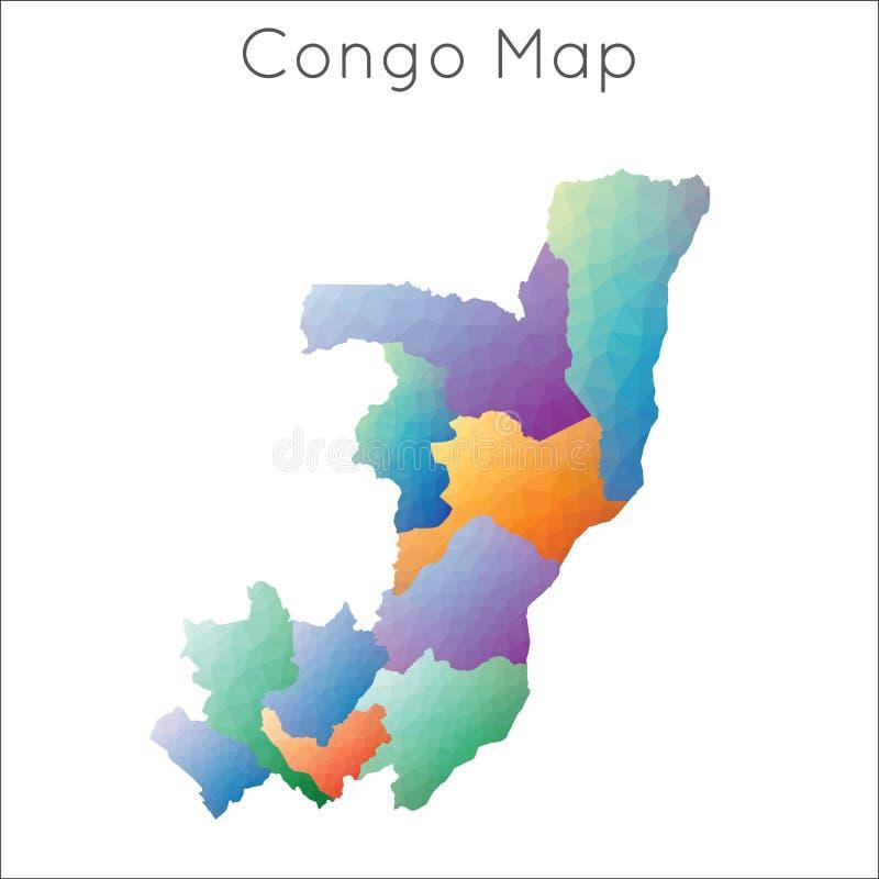 Χαμηλός πολυ χάρτης του Κογκό διανυσματική απεικόνιση
