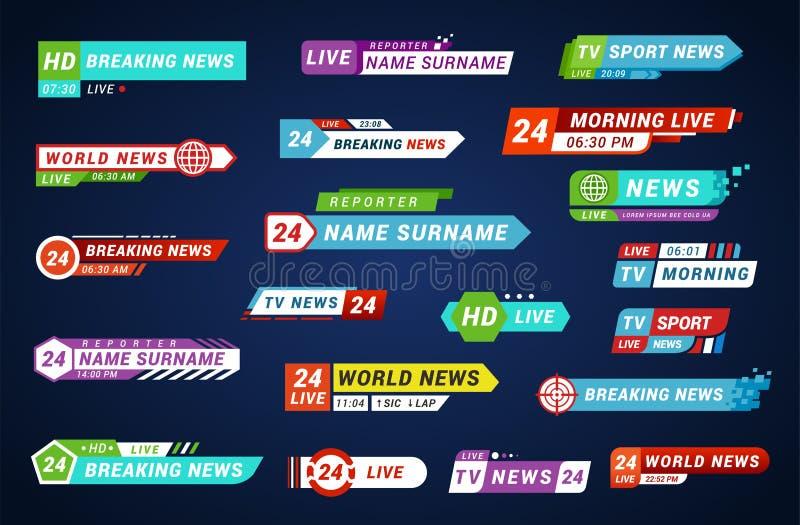 Χαμηλότεροι τρίτοι τίτλοι TV καθορισμένοι, σχέδιο για τη ραδιοφωνική αναμετάδοση και τηλεόραση απεικόνιση αποθεμάτων