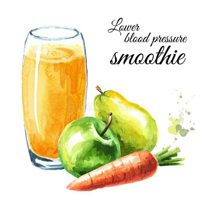 Χαμηλότερος καταφερτζής πίεσης του αίματος με τη Apple, το αχλάδι και το καρότο Συρμένη χέρι απεικόνιση Watercolor, που απομονώνε στοκ φωτογραφίες