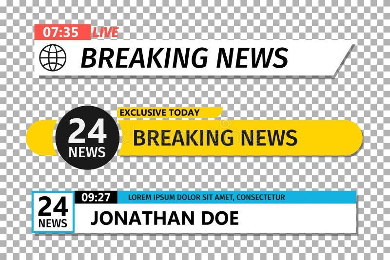 Χαμηλότερο τρίτο πρότυπο Σύνολο φραγμού ειδήσεων TV Έμβλημα ειδήσεων για τη ροή TV διανυσματική απεικόνιση