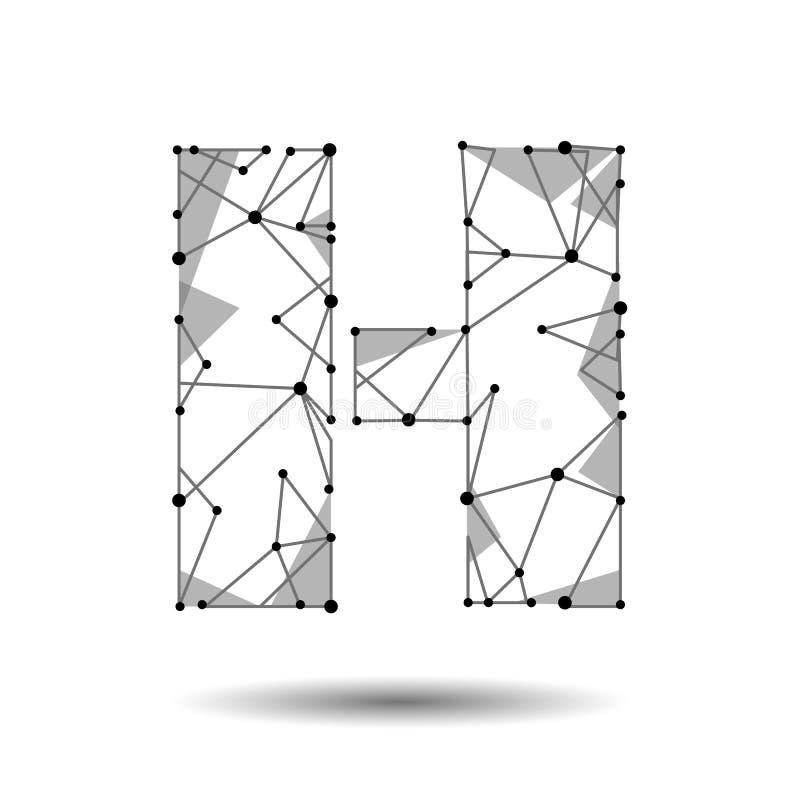 Χαμηλό πολυ αγγλικό λατινικό κυριλλικό αλφάβητο γραμμάτων Χ Το Polygonal τρίγωνο συνδέει τη γραμμή σημείου σημείων Μαύρη άσπρη τρ διανυσματική απεικόνιση