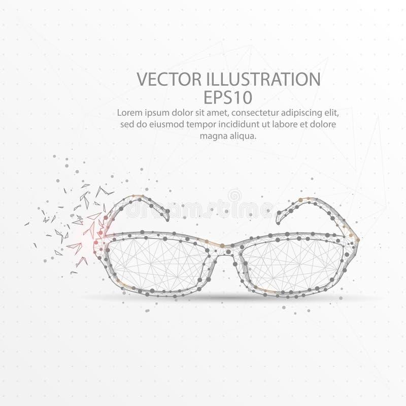 Χαμηλό πολυ πλαίσιο καλωδίων γυαλιών στο άσπρο υπόβαθρο απεικόνιση αποθεμάτων
