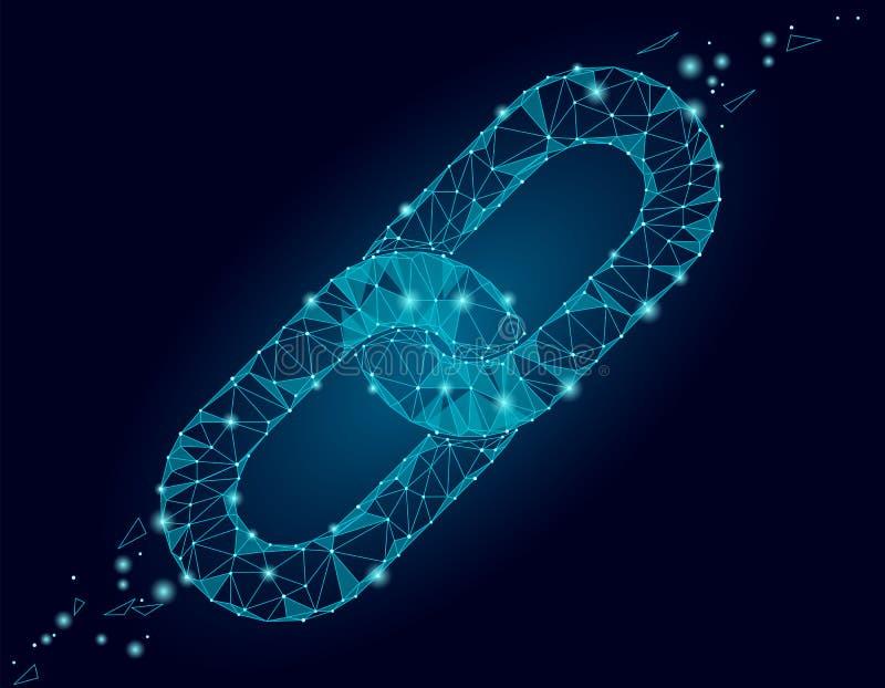 Χαμηλό πολυ σχέδιο σημαδιών συνδέσεων Blockchain Polygonal επιχείρηση ασφάλειας συνδέσμων υπερ-κειμένου τριγώνων εικονιδίων αλυσί ελεύθερη απεικόνιση δικαιώματος