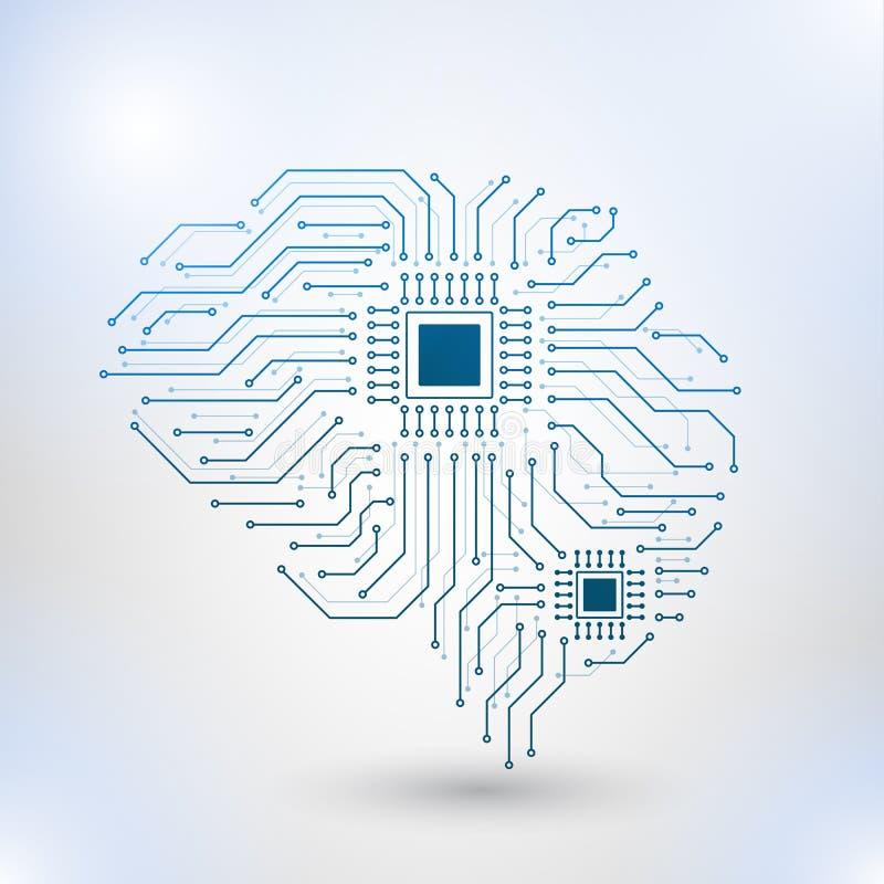 Χαμηλό πολυ σχέδιο τεχνολογίας του ανθρώπινου εγκεφάλου με τα δυαδικά ψηφία διανυσματική απεικόνιση