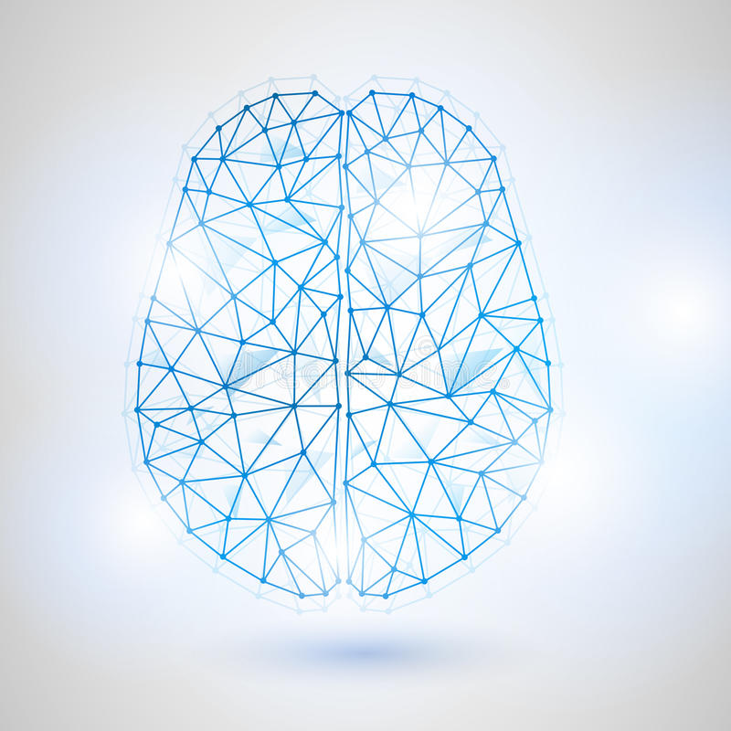 Χαμηλό πολυ σχέδιο τεχνολογίας του ανθρώπινου εγκεφάλου με το δυαδικό ψηφίο-2 απεικόνιση αποθεμάτων