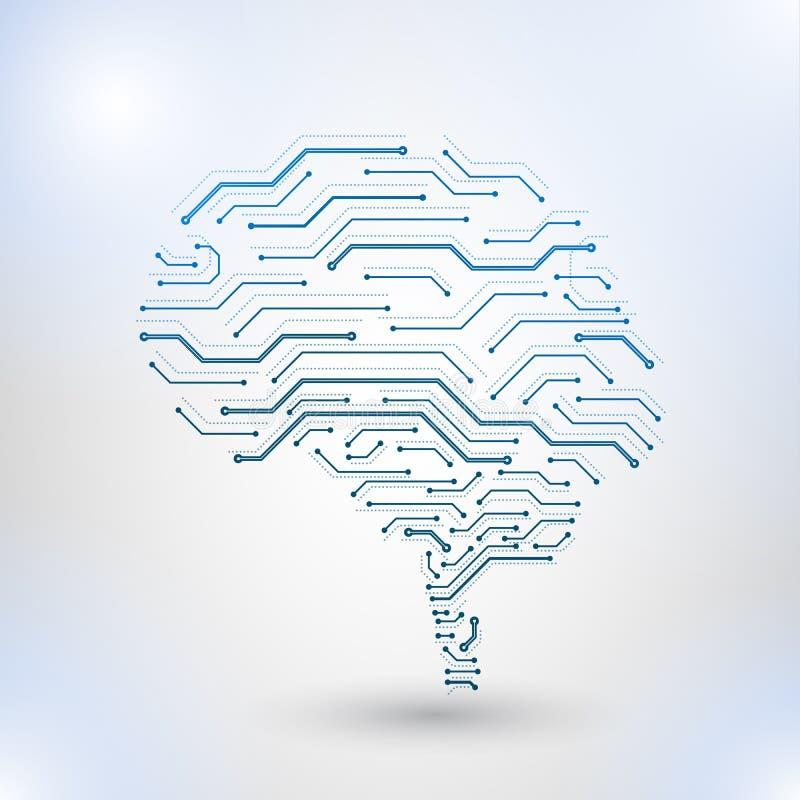 Χαμηλό πολυ σχέδιο τεχνολογίας του ανθρώπινου εγκεφάλου ελεύθερη απεικόνιση δικαιώματος