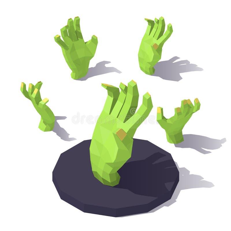 Χαμηλό πολυ χέρι του zombie διανυσματική απεικόνιση