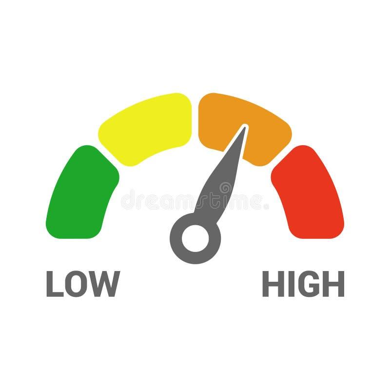 Χαμηλό υψηλό εικονίδιο ταχυμέτρων μέτρου κλίμακας μετρητών από πράσινο στο κόκκινο που απομονώνεται απεικόνιση αποθεμάτων