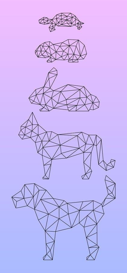 Χαμηλά πολυ κατοικίδια ζώα που περιγράφονται με τη μαύρη γραμμή ελεύθερη απεικόνιση δικαιώματος