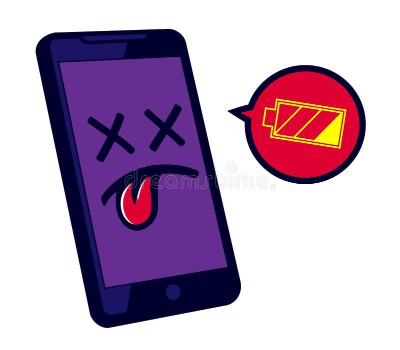 Χαμηλή επαναφόρτιση αναγκών smartphone μπαταριών, τηλεφωνική διάρκεια ζωής μπαταρίας ελεύθερη απεικόνιση δικαιώματος