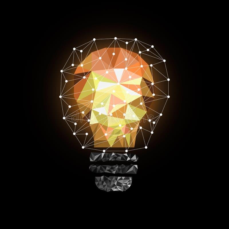Χαμηλή πολυ λάμπα φωτός ύφους Διανυσματική αφηρημένη απεικόνιση στο μαύρο υπόβαθρο ελεύθερη απεικόνιση δικαιώματος