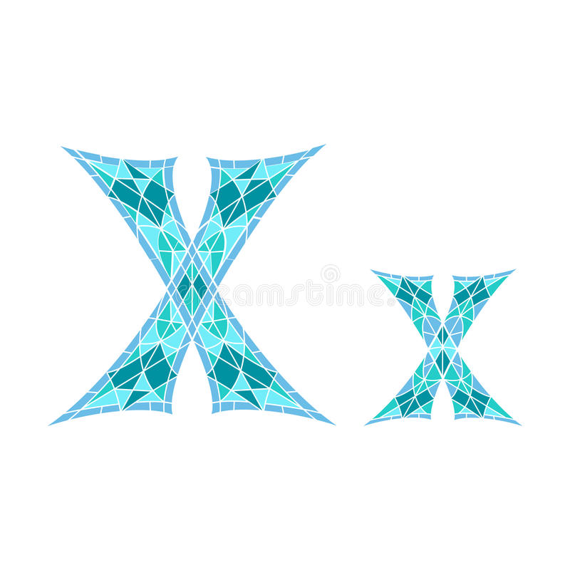 Χαμηλή πολυ επιστολή Χ στο μπλε πολύγωνο μωσαϊκών ελεύθερη απεικόνιση δικαιώματος