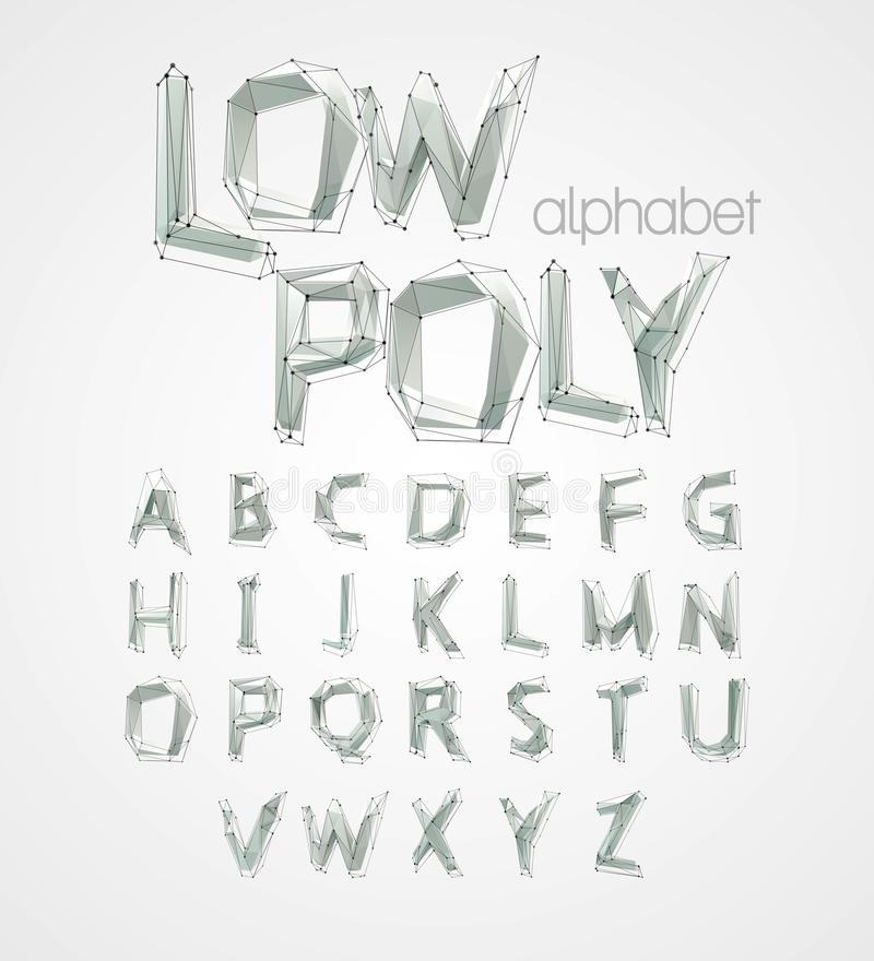 Χαμηλή πολυ πηγή αλφάβητου επίσης corel σύρετε το διάνυσμα απεικόνισης ελεύθερη απεικόνιση δικαιώματος