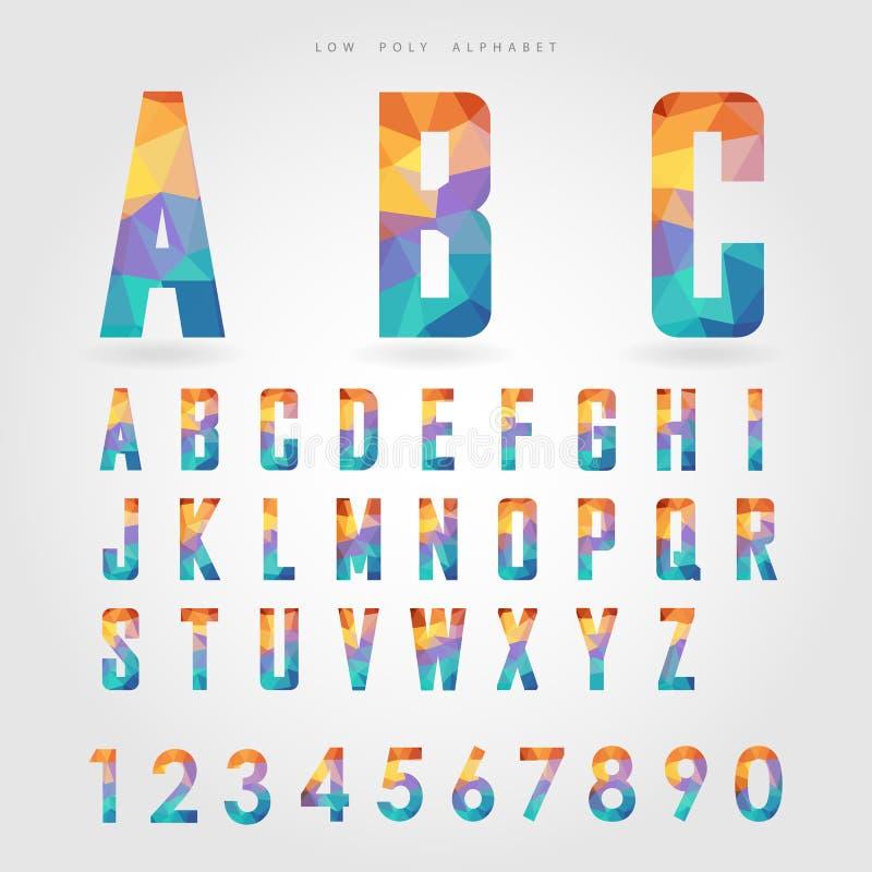 Χαμηλοί πολυ αλφάβητο και αριθμός στην έννοια πολυγώνων διανυσματική απεικόνιση