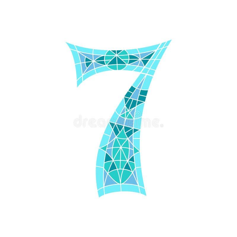 Χαμηλός πολυ αριθμός 7 στο μπλε πολύγωνο μωσαϊκών διανυσματική απεικόνιση