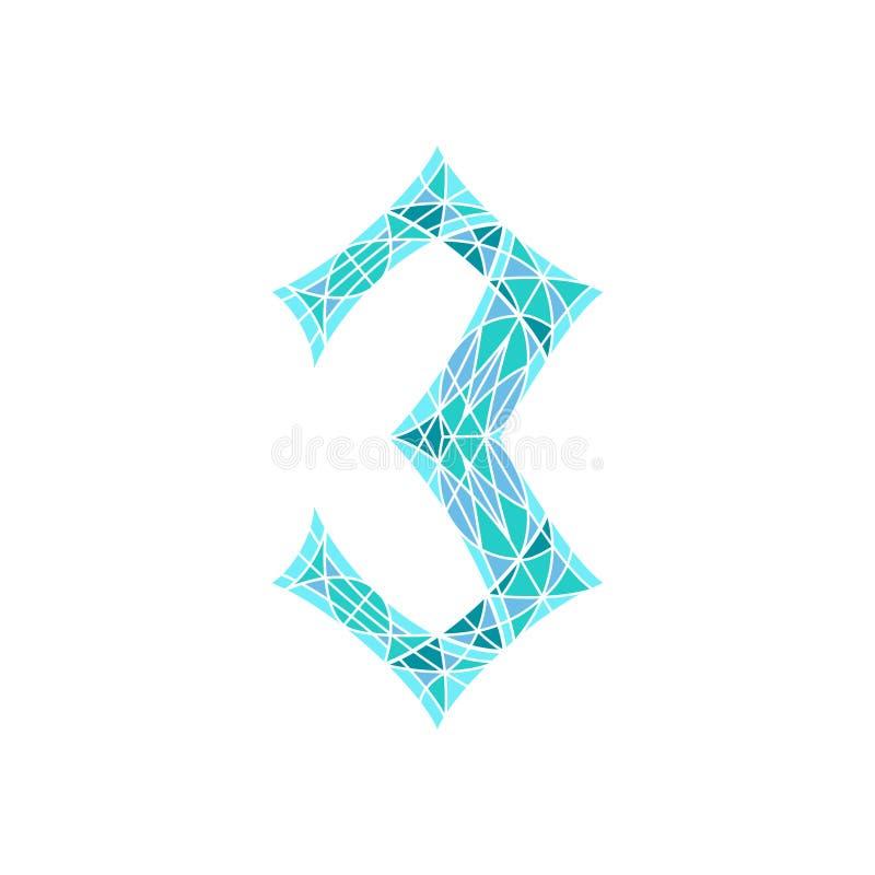 Χαμηλός πολυ αριθμός 3 στο μπλε πολύγωνο μωσαϊκών ελεύθερη απεικόνιση δικαιώματος