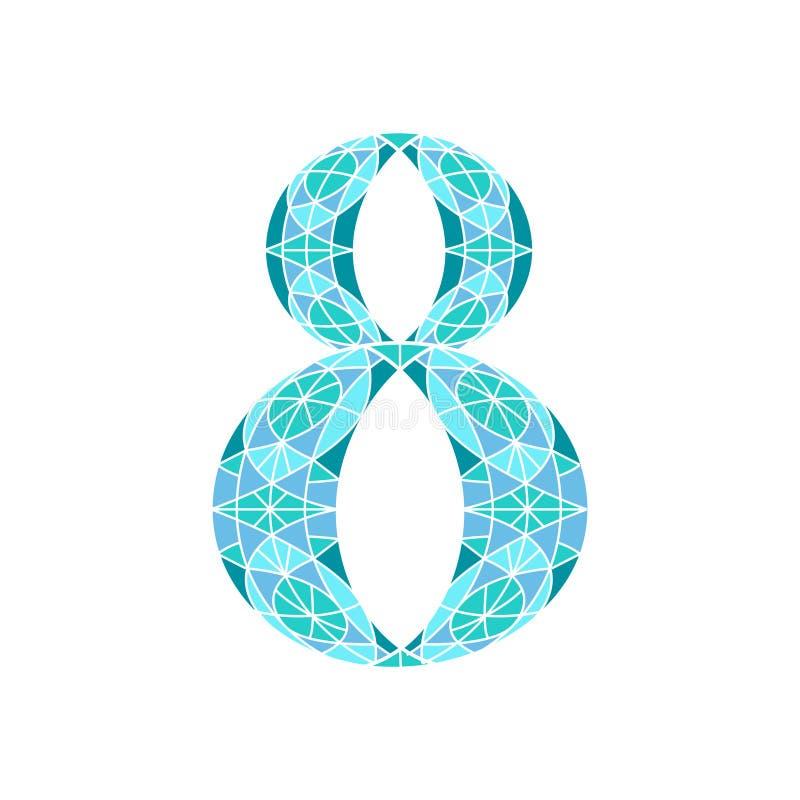 Χαμηλός πολυ αριθμός 8 στο μπλε πολύγωνο μωσαϊκών ελεύθερη απεικόνιση δικαιώματος