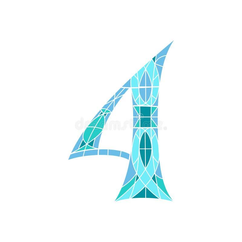 Χαμηλός πολυ αριθμός 4 στο μπλε πολύγωνο μωσαϊκών διανυσματική απεικόνιση