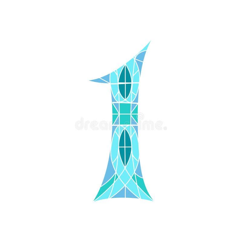 Χαμηλός πολυ αριθμός 1 στο μπλε πολύγωνο μωσαϊκών ελεύθερη απεικόνιση δικαιώματος