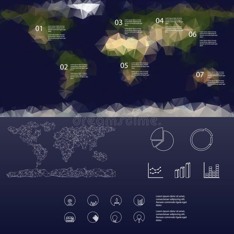 Χαμηλός polygonal χάρτης των επιλογών παγκόσμιου infographics απεικόνιση αποθεμάτων