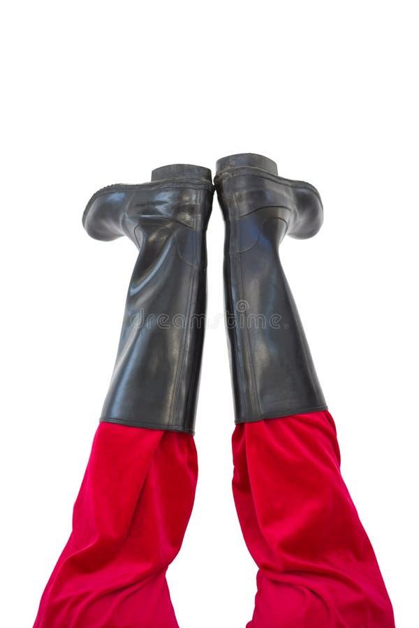 Χαμηλότερος - τα μισά από τα πόδια santas με τις μαύρες μπότες του στοκ φωτογραφία με δικαίωμα ελεύθερης χρήσης