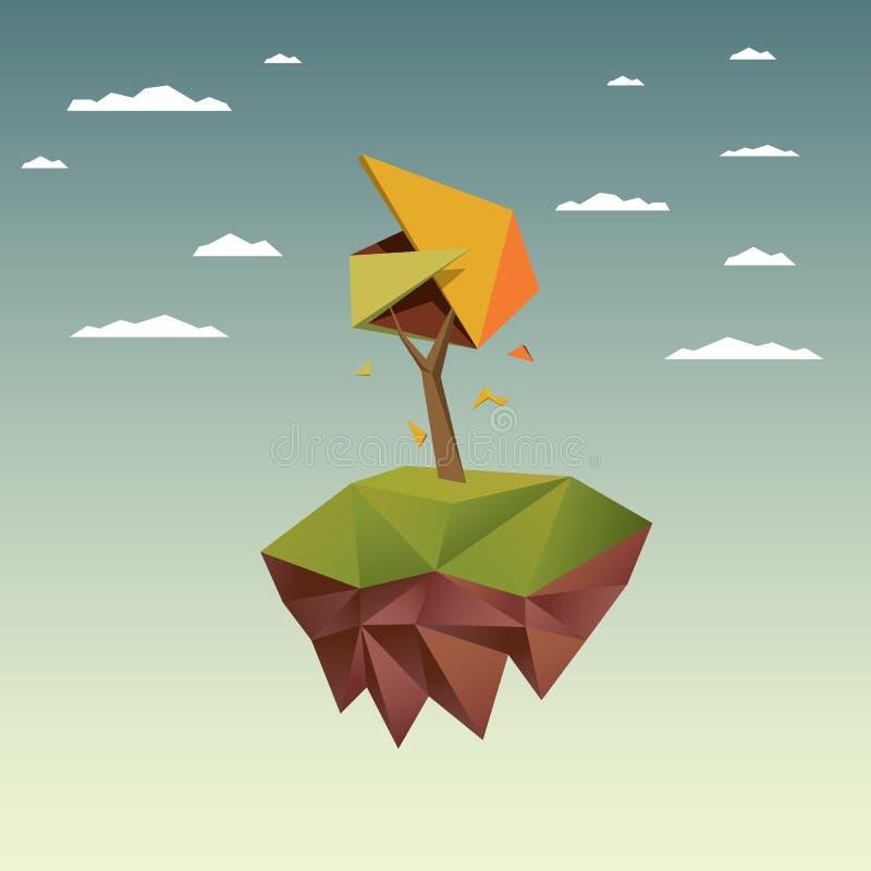Χαμηλό πολυ δέντρο φθινοπώρου Εποχιακό διάνυσμα πτώσης ελεύθερη απεικόνιση δικαιώματος