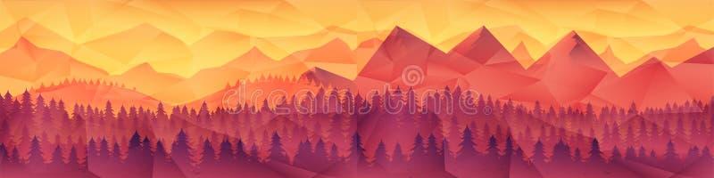 Χαμηλό πολυ γεωμετρικό υπόβαθρο τριγώνων με τη σειρά βουνών πέρα από το ηλιοβασίλεμα διανυσματική απεικόνιση