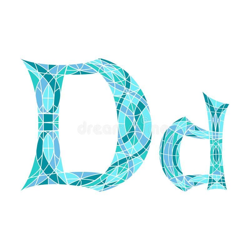 Χαμηλό πολυ γράμμα Δ στο μπλε πολύγωνο μωσαϊκών ελεύθερη απεικόνιση δικαιώματος