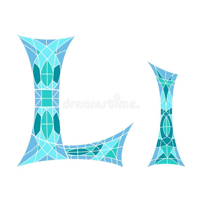 Χαμηλό πολυ γράμμα Λ στο μπλε πολύγωνο μωσαϊκών απεικόνιση αποθεμάτων