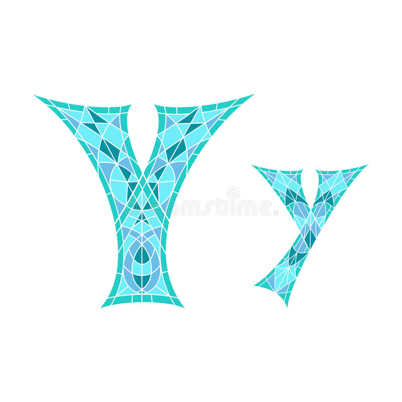 Χαμηλό πολυ γράμμα Υ στο μπλε πολύγωνο μωσαϊκών ελεύθερη απεικόνιση δικαιώματος