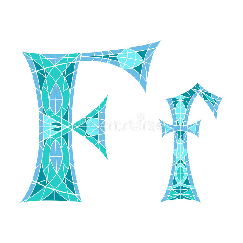 Χαμηλό πολυ γράμμα Φ στο μπλε πολύγωνο μωσαϊκών ελεύθερη απεικόνιση δικαιώματος