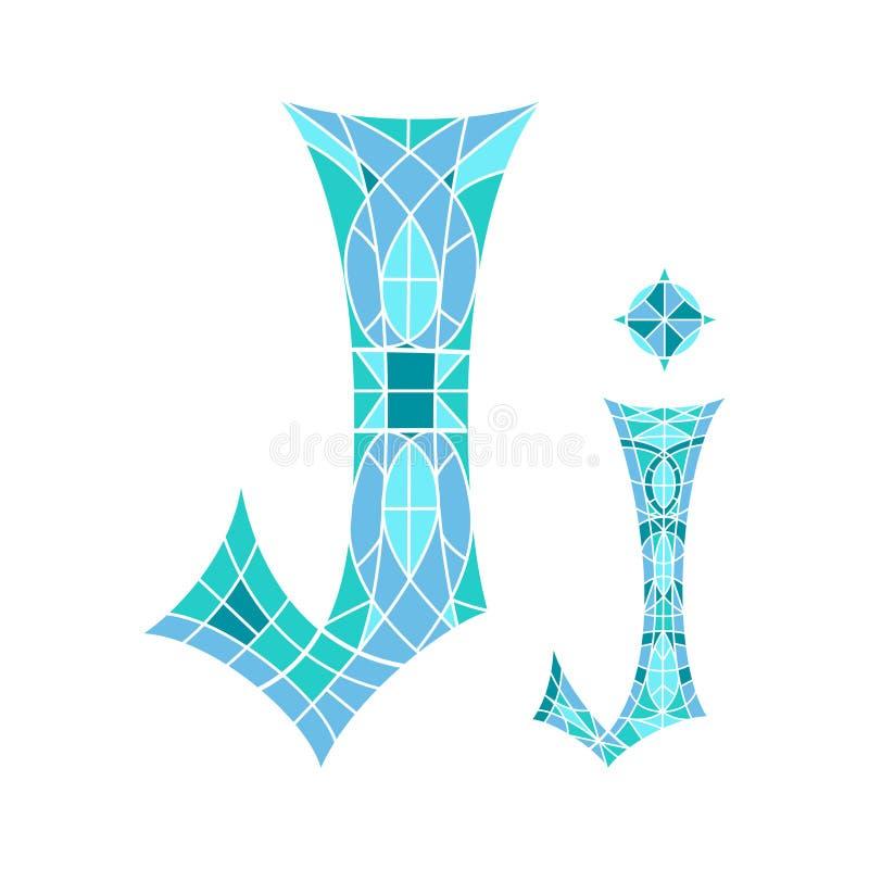 Χαμηλό πολυ γράμμα J στο μπλε πολύγωνο μωσαϊκών διανυσματική απεικόνιση