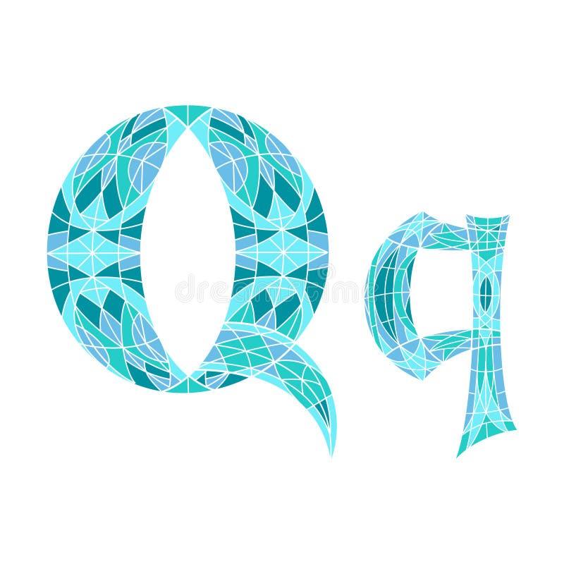 Χαμηλό πολυ γράμμα Q στο μπλε πολύγωνο μωσαϊκών ελεύθερη απεικόνιση δικαιώματος