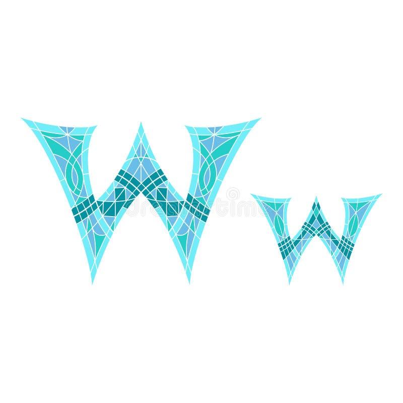 Χαμηλό πολυ γράμμα W στο μπλε πολύγωνο μωσαϊκών διανυσματική απεικόνιση
