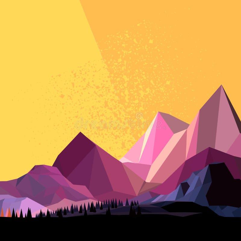 Χαμηλό πολυ διανυσματικό βουνό διανυσματική απεικόνιση
