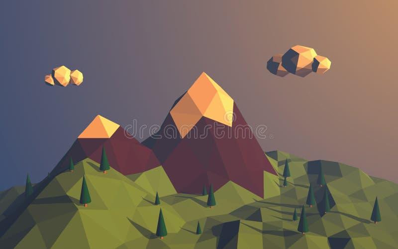 Χαμηλό πολυ διανυσματικό υπόβαθρο τοπίων βουνών απεικόνιση αποθεμάτων