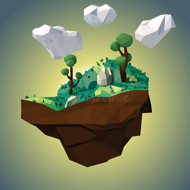 Χαμηλό πολυ νησί με τα δέντρα διανυσματική απεικόνιση