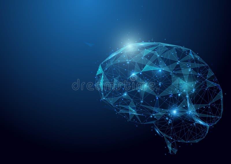 Χαμηλό πλέγμα εγκεφάλου πολυγώνων wireframe στο μπλε υπόβαθρο ελεύθερη απεικόνιση δικαιώματος