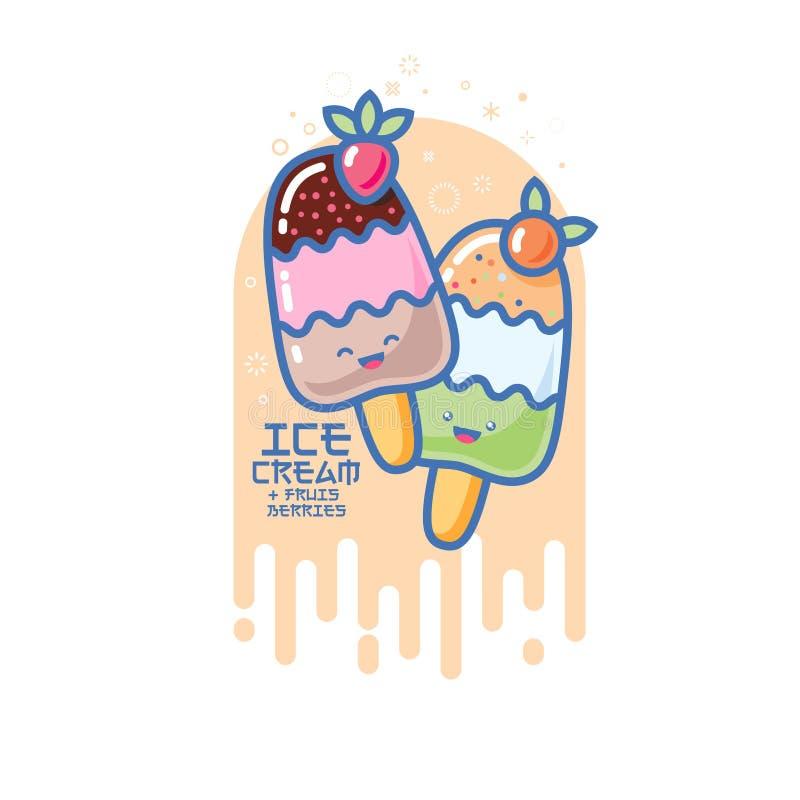 Χαμογελασμένη Kawaii απεικόνιση παγωτού Ζωηρόχρωμο παγωτό σε ένα ραβδί Ιαπωνική εικόνα ύφους διανυσματική απεικόνιση