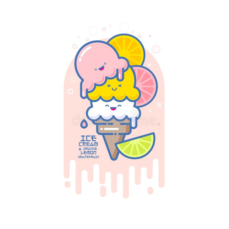 Χαμογελασμένη Kawaii απεικόνιση παγωτού Πολύχρωμο παγωτό σε έναν κώνο με το γκρέιπφρουτ, το πορτοκάλι και τον ασβέστη διανυσματική απεικόνιση