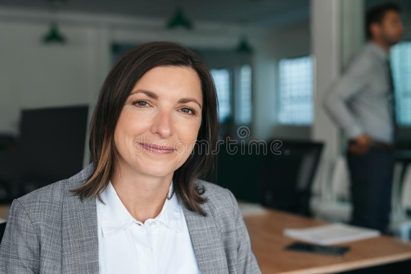Χαμογελαστή επιχειρηματίας που κάθεται στη δουλειά με συναδέλφους στο παρασκήνιο στοκ φωτογραφίες