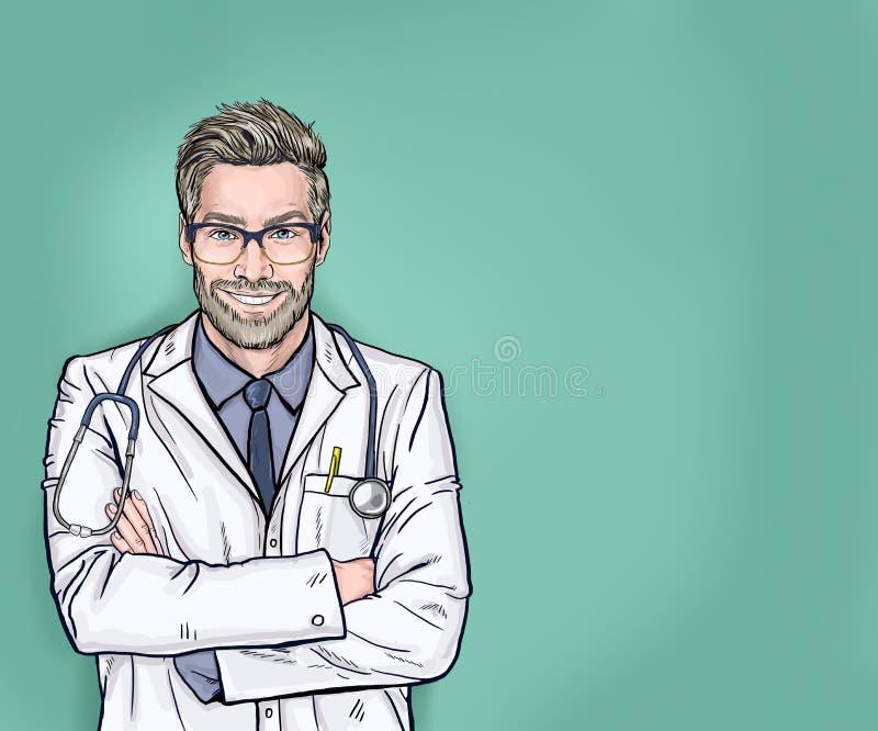 Χαμογελαστός γιατρός με στηθοσκόπιο που ποζάρει με σταυρωμένα χέρια Ιατρός επαγγελματίας βέβαιος και ευτυχισμένος με ένα μεγάλο φ ελεύθερη απεικόνιση δικαιώματος