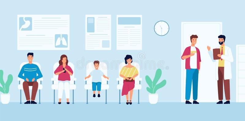 Χαμογελώντας άνθρωποι που κάθονται στις καρέκλες και που περιμένουν το χρόνο συνάντησης γιατρών ` s στο νοσοκομείο Άνδρες και γυν απεικόνιση αποθεμάτων