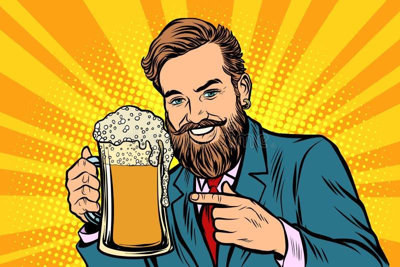 Χαμογελώντας άτομο με μια κούπα του αφρού μπύρας απεικόνιση αποθεμάτων
