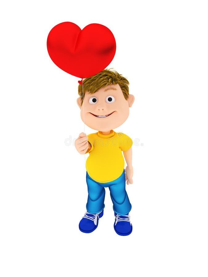 Χαμογελώντας αγόρι που κρατά κόκκινο ballon καρδιών ελεύθερη απεικόνιση δικαιώματος