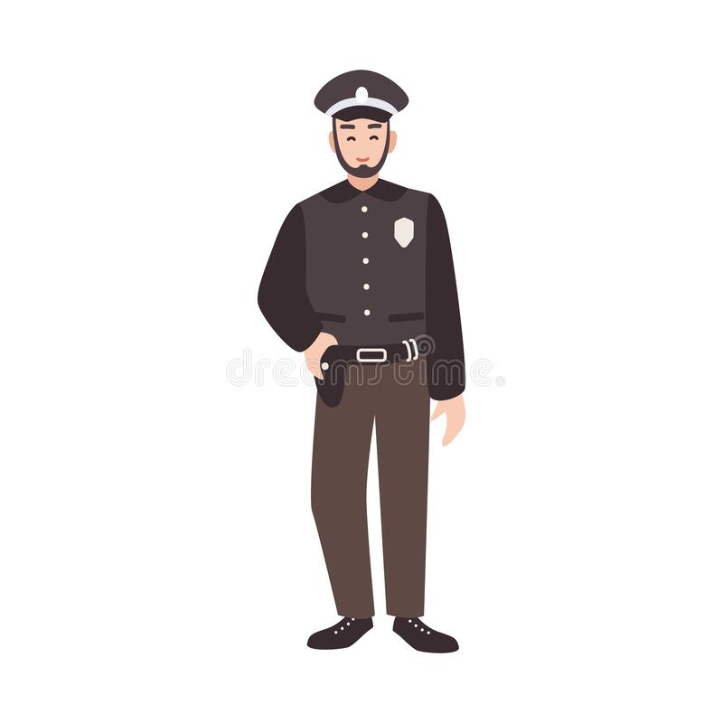 Χαμογελώντας αστυνομικός, αστυνομικός, σπόλα ή φθορά εργαζομένων επιβολής νόμου ομοιόμορφη και ΚΑΠ Φιλικά αρσενικά κινούμενα σχέδ απεικόνιση αποθεμάτων
