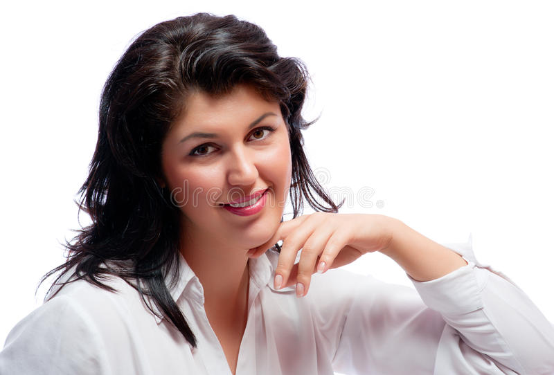 Download Χαμογελώντας γυναίκα που απομονώνεται νέα Στοκ Εικόνα - εικόνα από συνεδρίαση, χαμόγελο: 17051117