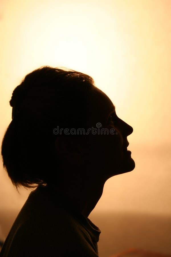 χαμογελώντας γυναίκα σκιαγραφιών στοκ εικόνες