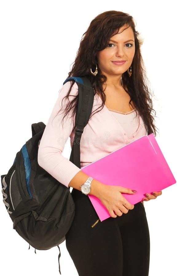 Χαμογελώντας γυναίκα σπουδαστών στοκ εικόνες