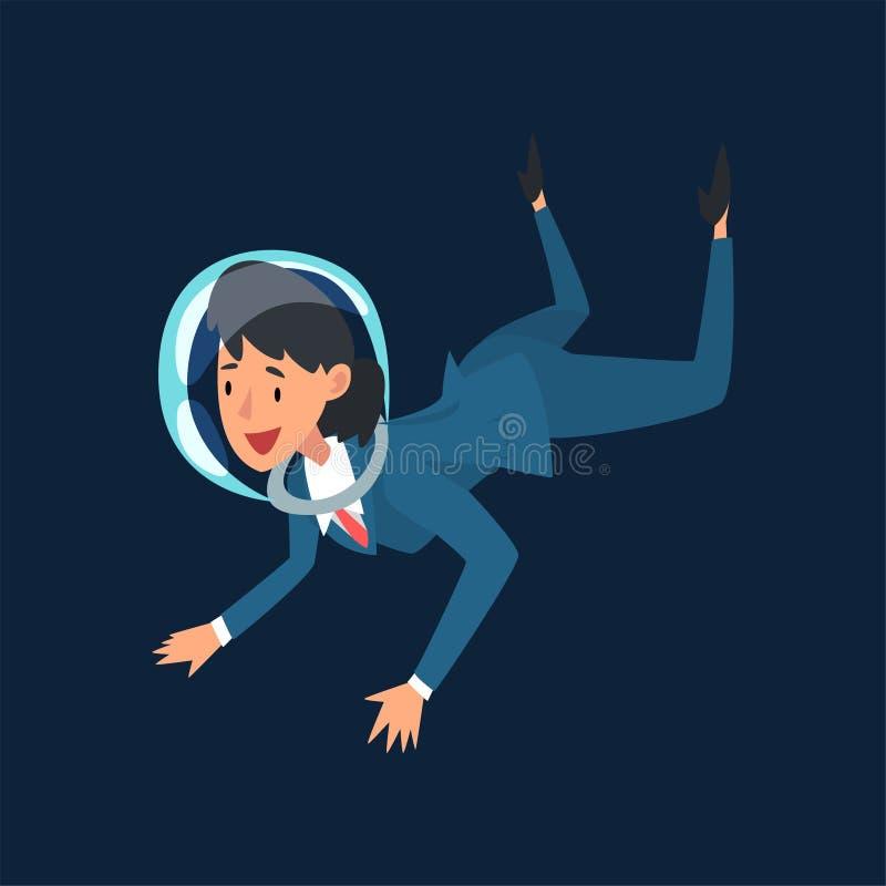 Χαμογελώντας επιχειρηματίας στο κράνος κοστουμιών και αστροναυτών που πετά στο μακρινό διάστημα, στρατηγική ανάπτυξης επιχείρησης ελεύθερη απεικόνιση δικαιώματος